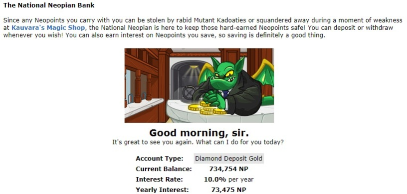 Neopets bank account - Diamond Deposit Gold