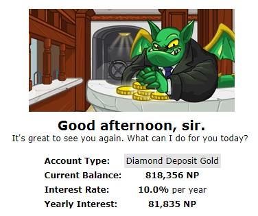 neopets bank - millionaire