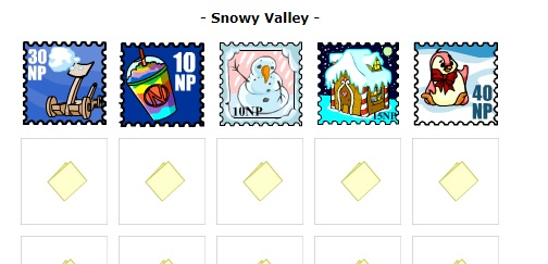 stamp collecting - neopets Starting the Snowy Valley page